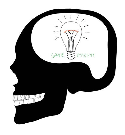 Think Skull with Lightbulb photo