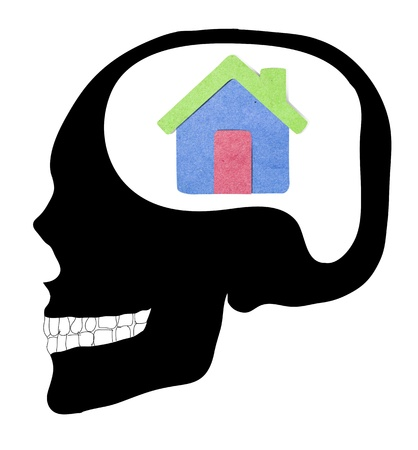 A concept for Dream Home, where Thinking human Skull photo