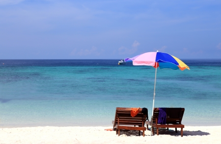 Beach furniture set in Lipe island, Thailand photo