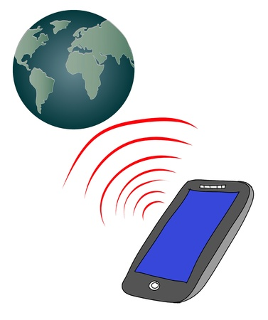smart phone connect to globe,telecommunica tion concept Stock Photo - 19287042