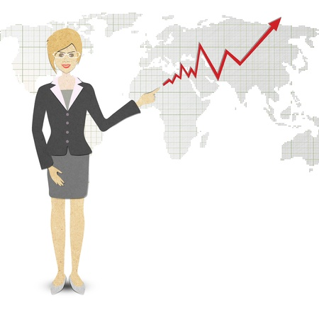 papercraft: Business Woman papercraft  of a graph showing