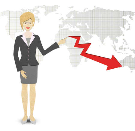 Business Woman papercraft  of a graph showing photo