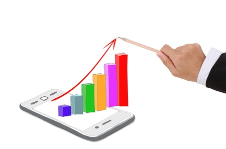 Smartphone business graph chart on a white background Stock Photo - 19422690