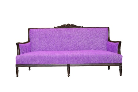 violet sofa isolated on white background photo