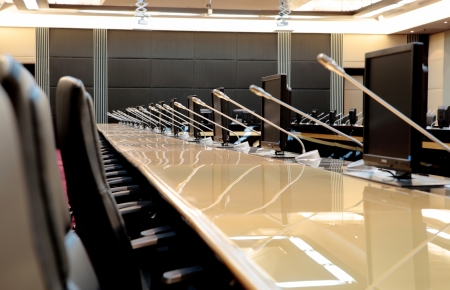 before a conference, the microphones in front of empty chairs Stock Photo - 20939813