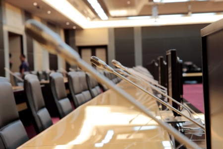 before a conference, the microphones in front of empty chairs Stock Photo - 20939814