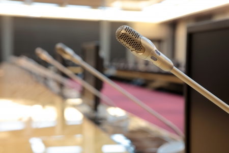 before a conference, the microphones in front of empty chairs Stock Photo - 20959496