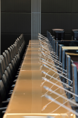 before a conference, the microphones in front of empty chairs Stock Photo - 20959498