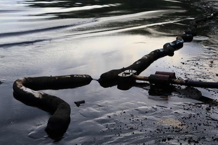 slick: crude oil spill on the beach