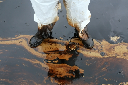dirty: clean up Crude oil stain at Ao Prao Beach  in , Rayong, Thailand