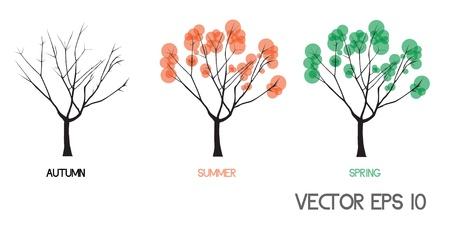 vector original abstract tree in four seasons  Vector