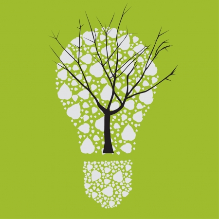 Tree dry in light bulb vector Vector
