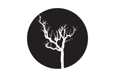 vector black silhouette of a bare tree Vector