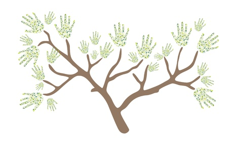 Abstract tree made of color leaves  hands Vector
