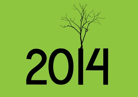Cute card on 2014 year with abstract tree dry Stock Vector - 21634619
