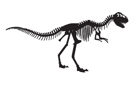 trex: vector silhouettes of the skeleton of a Tyrannosaurus rex dinosaur