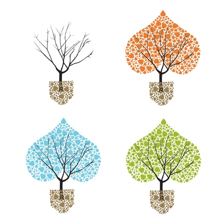 vector original abstract tree in four seasons  Vector