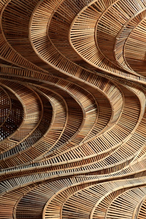 wooden furniture: Pattern texture of bamboo weave hand made