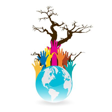 humanitarian aid: Hand Save The Earth Conceptual