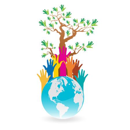 humanitarian aid: Hand Save The Earth Conceptual  Illustration