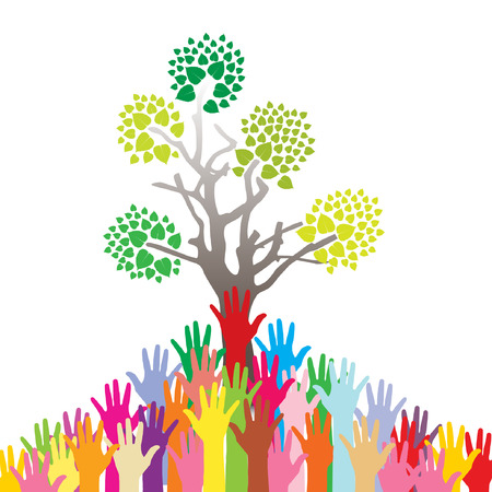 Save the Earth tree idea with hands background Vector