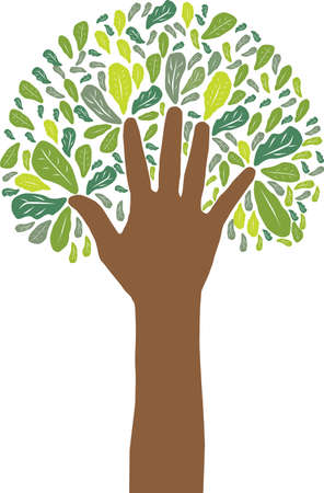 hand symbol of green tree