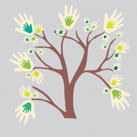 Eco friendly tree hands illustration for greeting card