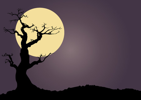 gnarled: Halloween spooky scary background with full moon and gnarled tree