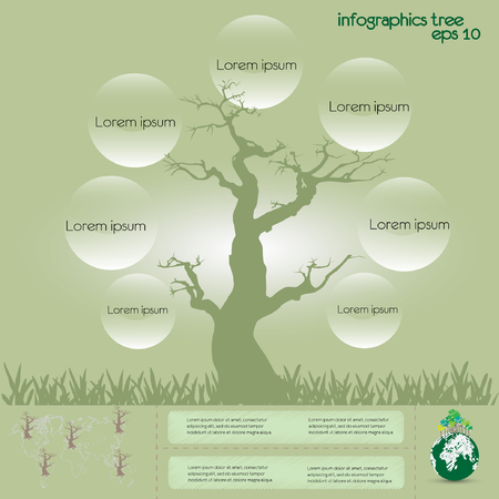 ecological infographics with tree dry  infographic concept Vector