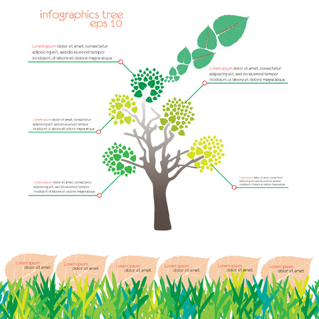 ecological infographics with tree  infographic concep Çizim