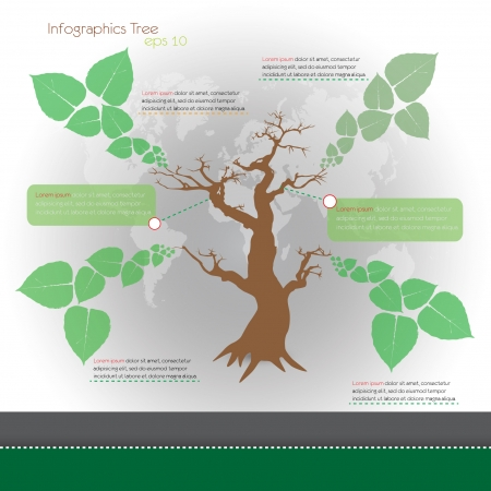 ecological infographics with tree  infographic concept Vector