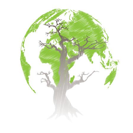 ベクトル イラスト地球を救う