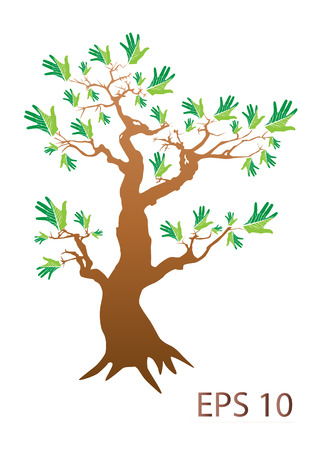 hands tree over white background vector illustration Vector