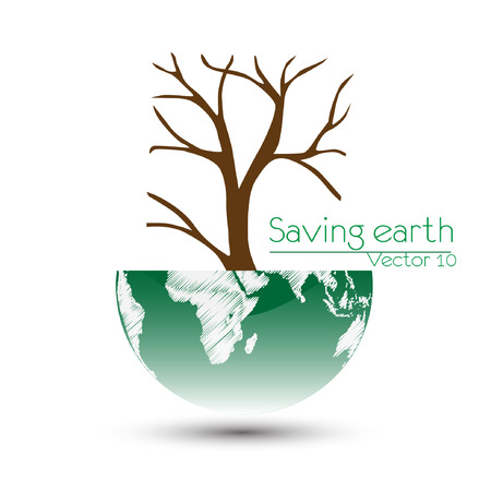 sea pollution: Save the earth, Dry tree on globe  Vector illustration