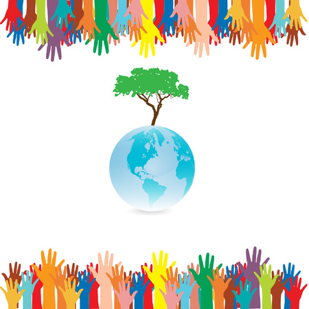 Hand  style save the Earth tree idea. (environment concept) Stock Vector - 22456018