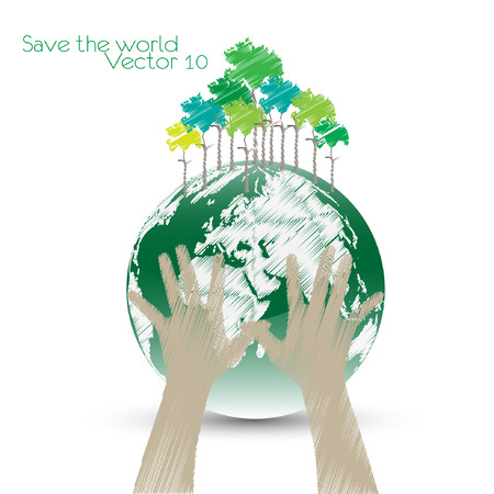 Hand Save The Earth Conceptual. vector illustration Vector