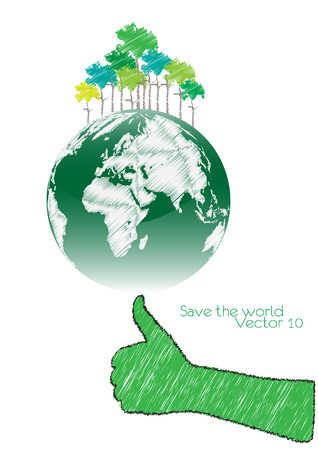 responsibility: Hand Save The Earth Conceptual  vector illustration