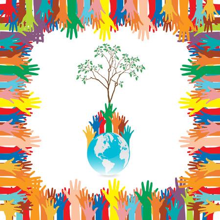 Style de main sauver le concept d'environnement idée de l'arbre de la Terre