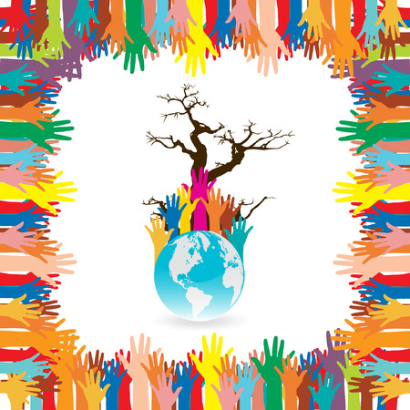 environmental responsibility: Hand  style save the Earth tree idea   environment concept  Illustration