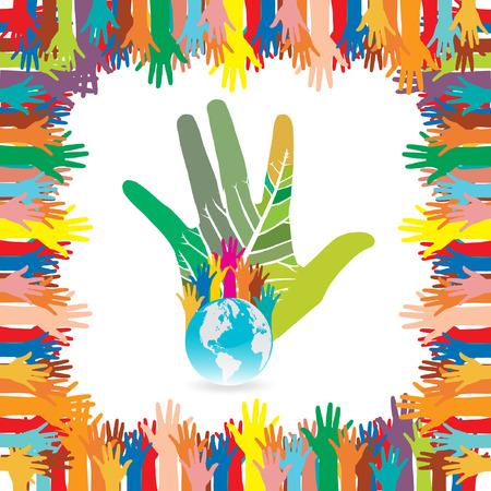 responsabilidad: Estilo Hand salvar el medio ambiente concepto idea �rbol de la tierra