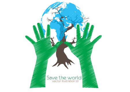 humanitarian: Hand Save The Earth Conceptual  Illustration
