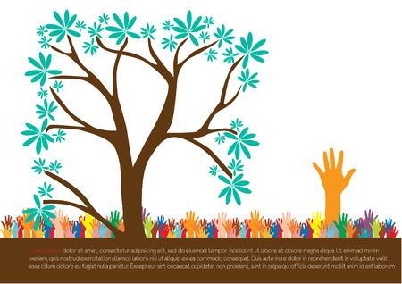 Hand  style save the Earth tree idea   environment concept  Vector