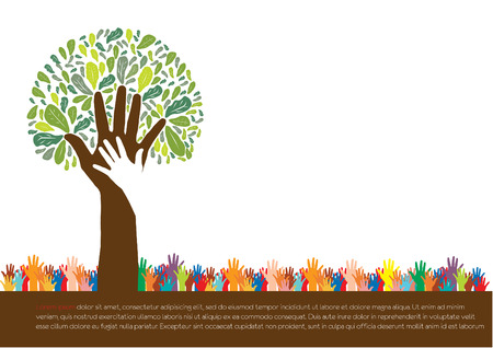 roots: Hand  style save the Earth tree idea   environment concept  Illustration