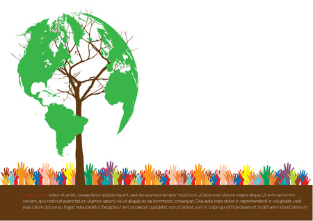 Hand  style save the Earth tree idea   environment concept  Illustration