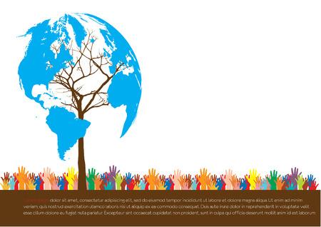 csr: Estilo Hand salvar el medio ambiente concepto idea �rbol de la tierra