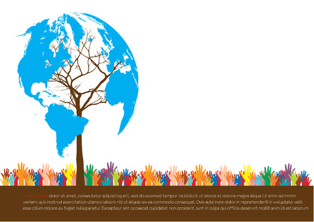 responsibilities: Hand  style save the Earth tree idea   environment concept  Illustration