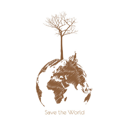land development: Save the earth, Dry tree on globe.  Illustration