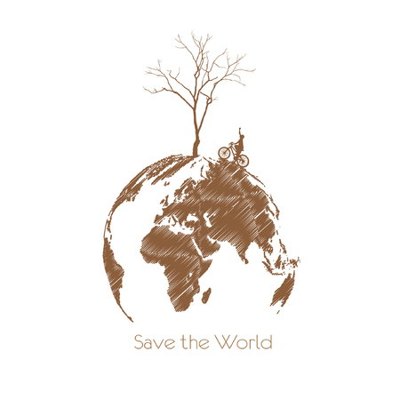 land development: Save the earth, Dry tree on globe.