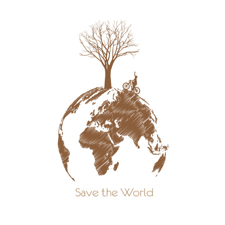 biological waste: Save the earth, Dry tree on globe.