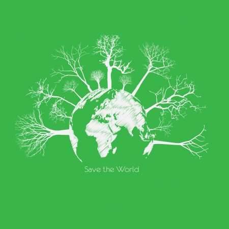 biological waste: Save the earth, Dry tree on globe.  Illustration